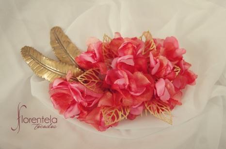 tocado-latón-flores-organza