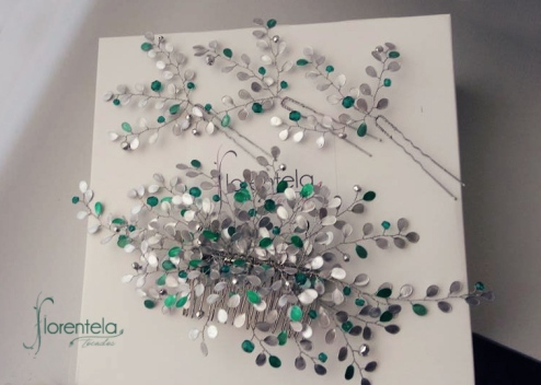 tocado alambre plata y verde1