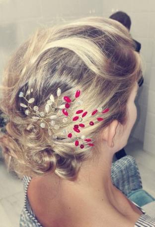 Horquillas alambre esmaltado blancas y rojas