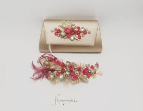 tocado-estefania-coral-champan-bolso