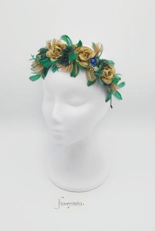 diadema-flores-plumas-verde-dorados