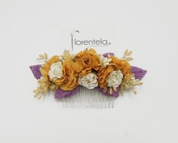 peineta-flores-lila-amarillo-mostaza