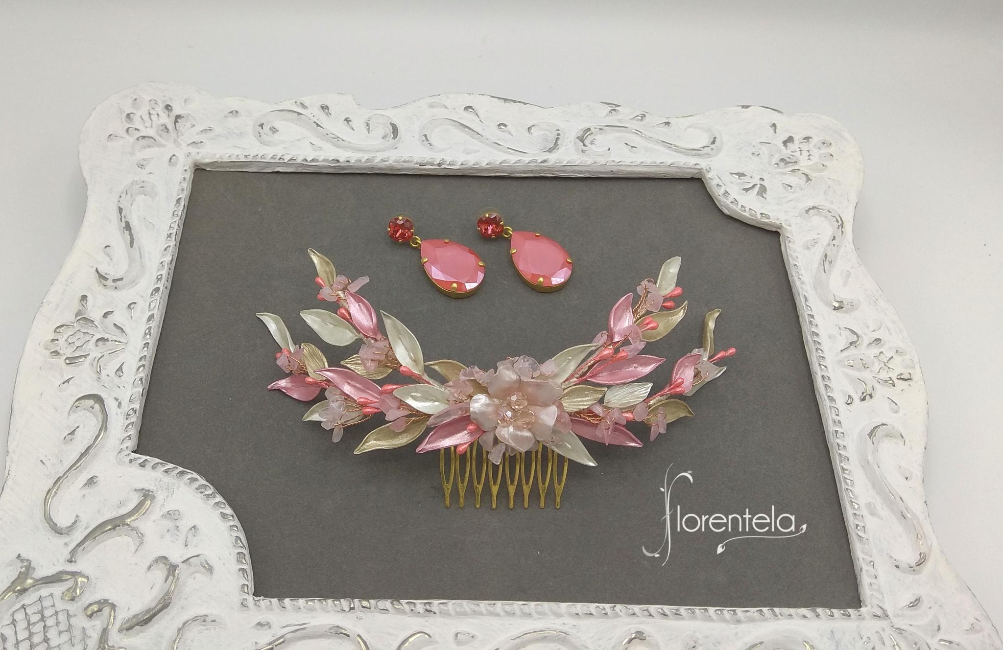 tocado-olivia-doble-hilera-coral-rosa